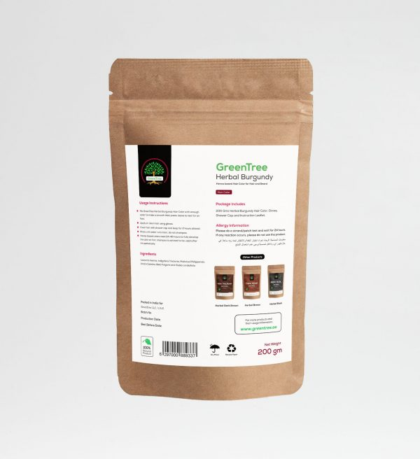 Burgundy Powder herbal hair products from GreenTree