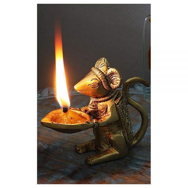 Ganesha's Mouse brass diyas dubai by GreenTree